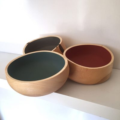 Green turned bowls by Steve Gore Rowe