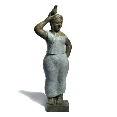 Girl with bird on her head, bronze by Bridget Heriz