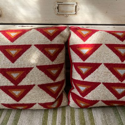 Embroidered cushions by Heather Connor