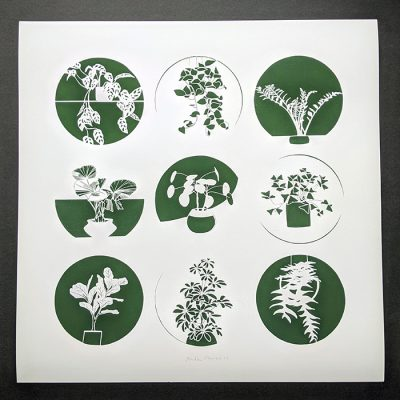 Nine Plants paper cut, print by Ruth Howes